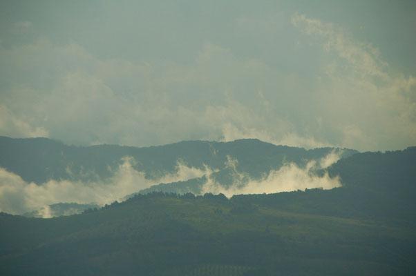 Von weitem sieht man die Lavafelder rauchen