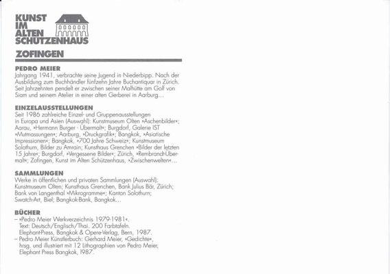 Einladungskarte – Kunsthaus Zofingen (Schützenhaus) – Pedro Meier Solo-Ausstellung »Zwischenwelten« 1997 (Werke in öffentlichem Besitz: Kunsthaus Grenchen, Museum Olten, Bank Julius Bär, Kanton Solothurn, UBS Art Collection, Swatch-Art, Bangkok-Bank)
