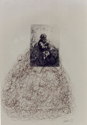 Anmerkungen zu Rembrandt – Federzeichnungen, chinesische Sepia-Tusche über antiken Rembrandt Radierungen – Kunstmuseum Olten 1994 – Solo-Ausstellung von Pedro Meier Multimedia Artist – Konzept: Peter Killer Konservator – © Pedro Meier Niederbipp  Nr. 02