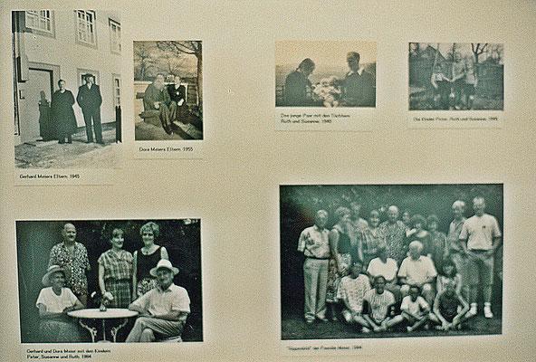 Kunstmuseum Solothurn – Pedro Meier und Gerhard Meier Ausstellung 1995 – von oben links: Gerhard Meiers Eltern 1945 – Dorli Meiers Eltern 1955 – Das junge Paar in Wangen 1940 – Die drei Kinder: Ruth, Susan, Peter (Pedro) 1944– Familienfest Niederbipp 1994