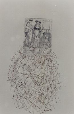 Anmerkungen zu Rembrandt – Federzeichnungen, chinesische Sepia-Tusche über antiken Rembrandt Radierungen – Kunstmuseum Olten 1994 – Solo-Ausstellung von Pedro Meier Multimedia Artist – Konzept: Peter Killer Konservator – © Pedro Meier Niederbipp  Nr. 09