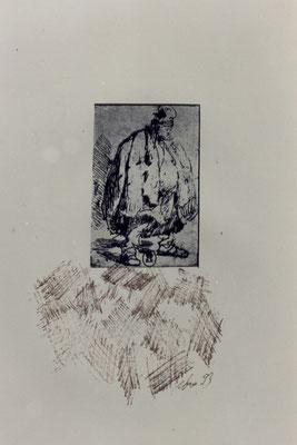 Anmerkungen zu Rembrandt – Federzeichnungen, chinesische Sepia-Tusche über antiken Rembrandt Radierungen – Kunstmuseum Olten 1994 – Solo-Ausstellung von Pedro Meier Multimedia Artist – Konzept: Peter Killer Konservator – © Pedro Meier Niederbipp  Nr. 16