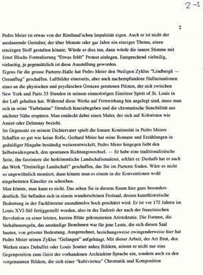 Pedro Meier Kunsthaus Zofingen Solo-Ausstellung »Zwischenwelten«, Lesung Gerhard Meier, Werner Morlang. Vernissagerede Peter Killer Leiter Kunstmuseum Olten, 15.2.1997. Pedro Meier Niederbipp, Kunsthalle Olten, Bangkok Art Group BACC, Lexikon SIKART – 2/3