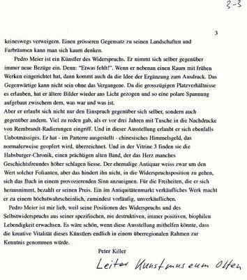 Pedro Meier Kunsthaus Zofingen Solo-Ausstellung »Zwischenwelten«, Lesung Gerhard Meier, Werner Morlang. Vernissagerede Peter Killer Leiter Kunstmuseum Olten, 15.2.1997. Pedro Meier Niederbipp, Kunsthalle Olten, Bangkok Art Group BACC, Lexikon SIKART – 3/3