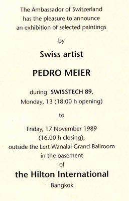 Pedro Meier Nai Lert Park Gallery Hilton Bangkok Exhibition. Opening: The Ambassador of Switzerland Bangkok. Swiss artist in Thailand. Invitation Card: Painting, Fireworks on the king's birthday. Swisstech 1989. Pedro Meier Studio Sala Daeng Road, Bangkok