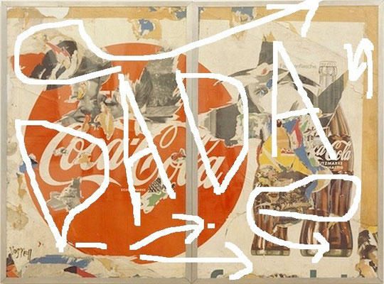 Pedro Meier Artist – »DADA« – Plakatabriss – Décollage – Mixed Media auf Papier, auf Leinwand – Foto © Pedro Meier Multimedia Artist – (Ateliers: Niederbipp – Olten – Bangkok – Thailand)