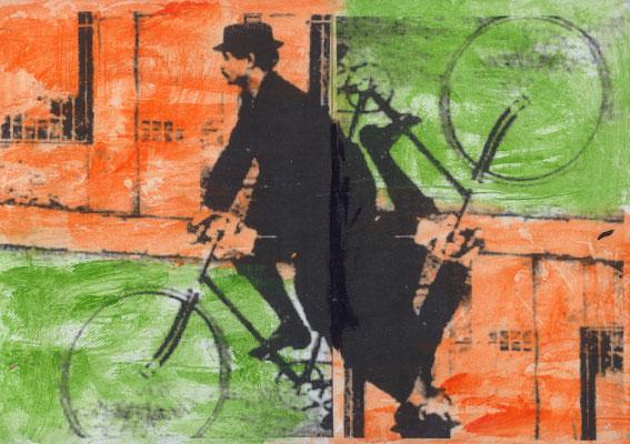 "Pedro Meier – Alfred Jarry – Ur-DADAIST – ""König Ubu"" auf Veloziped – Mischtechnik auf Leinwand 2016. Foto © Pedro Meier Multimedia Artist/ProLitteris Zürich, Visarte Solothurn Kunstverein – Bangkok Art Group – Gerhard Meier-Weg Niederbipp Bern Oberaargau"