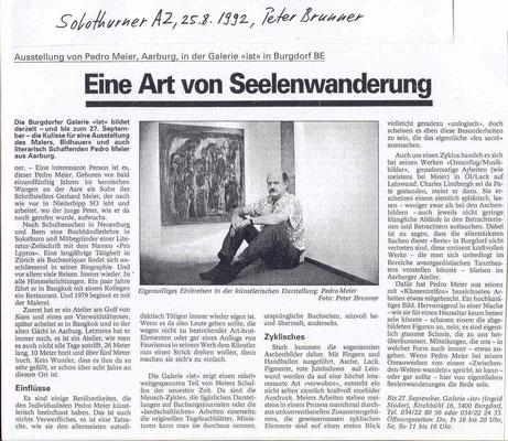 Ausstellung Pedro Meier, Aarburg, in der Galerie »ist« Burgdorf – Presse-Artikel: »Solothurner AZ«, 25.8.1992 – Kulturjournalist Peter Brunner – »Eine Art Seelenwanderung« – Bilder aus dem Zyklus »Ozeanflug/Musikbilder« (Charles Lindbergh) – © Pedro Meier