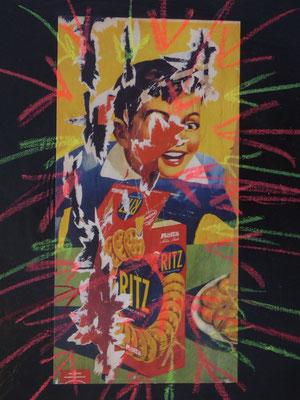 Pedro Meier Artist – »Reklame Übermalt« – Plakatabriss – Décollage – Mixed Media auf Papier, auf Leinwand – Foto © Pedro Meier Multimedia Artist – (Ateliers: Niederbipp – Olten – Bangkok – Thailand)