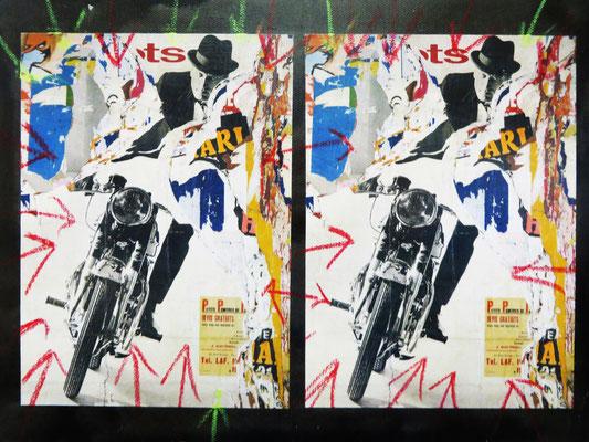 Pedro Meier Artist – »Motorradfahrer« – Plakatabriss – Décollage – Mixed Media auf Papier, auf Leinwand – Foto © Pedro Meier Multimedia Artist – (Ateliers: Niederbipp – Olten – Bangkok – Thailand)