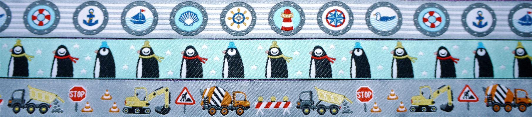 Maritim, Pinguine, Baumaschinen (3 Webbänder in einem Bild)