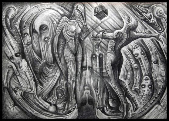 The secret of Pandora's box (Bleistift,Graphit auf Papier)