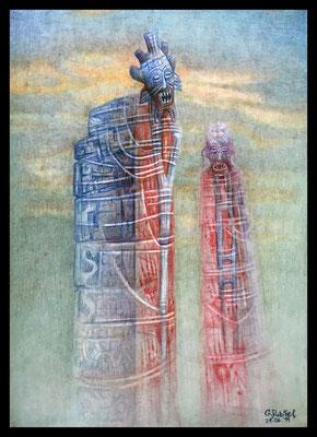 Tulum-Bloody Roots (Mischtechnik - Polychromos, Kreide auf Papier)