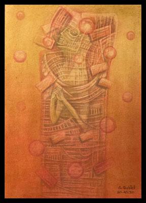 Agnostic Preacher (Mischtechnik - Pitt Monochrome, Polychromos, Kreide auf Papier)