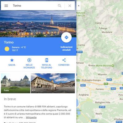 Immagine di Torino in Google Maps