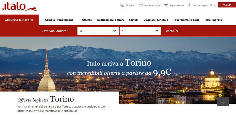 Homepage Italo sezione Torino