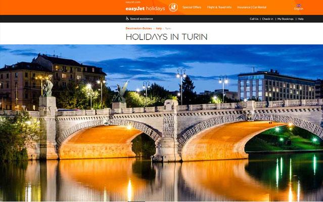 Pagina web easyJet sezione Torino