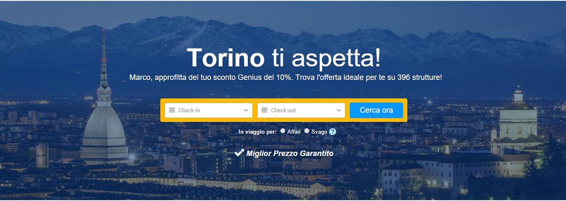 Homepage di Booking, sezione Torino