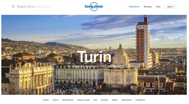 Copertina pagina Lonely Planet su Torino