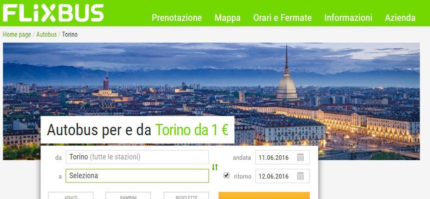 Flixbus, copertina pagina web sezione Torino