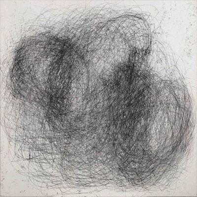 Linie schwarz I Monotypie auf Nessel, 90 x 90 cm, 2014