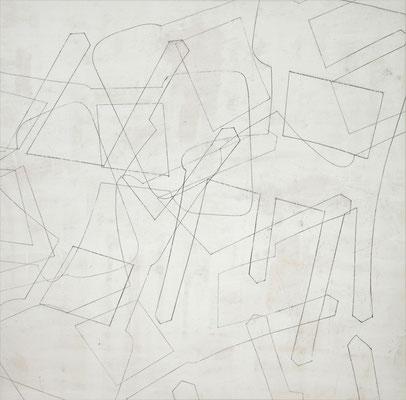 o. T. V (happening) Monotypie auf Leinwand, 140 x 140 cm, 2011