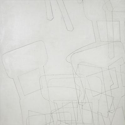 o. T. VII (happening) Monotypie auf Leinwand, 140 x 140 cm, 2012