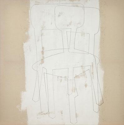 o. T. VI (happening) Monotypie auf Leinwand, 140 x 140 cm, 2012