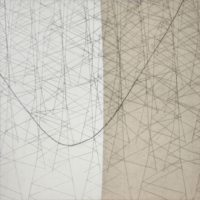 Vernetzung I Monotypie auf Leinwand, 140 x 140 cm, 2012