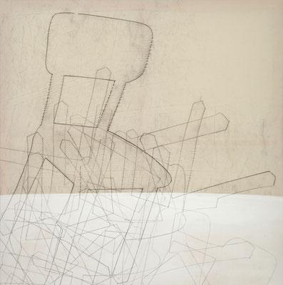o. T. III (happening) Monotypie auf Leinwand, 140 x 140 cm, 2011