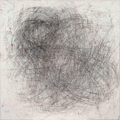 Linie schwarz II Monotypie auf Nessel, 90 x 90 cm, 2014