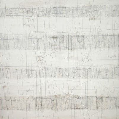 o. T. I (happening) Monotypie auf Leinwand, 140 x 140 cm, 2011