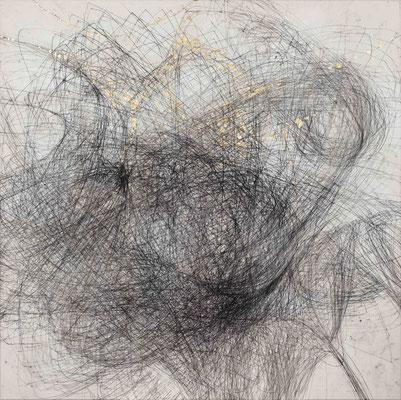 Linie schwarz VII Monotypie auf Nessel, Schlagmetall 90 x 90 cm, 2017