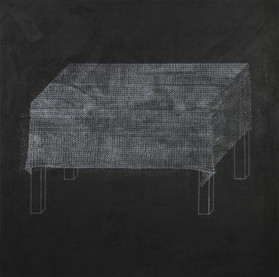 o.T. I(Verstrickung) Monotypie auf Leinwand, 140 x 140 cm, 2012