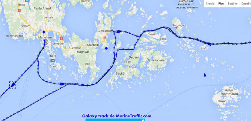 La trace de Galaxy dans l'archipel d'Aland. Escale de jour à Mariehamn et de nuit à Langnäs.