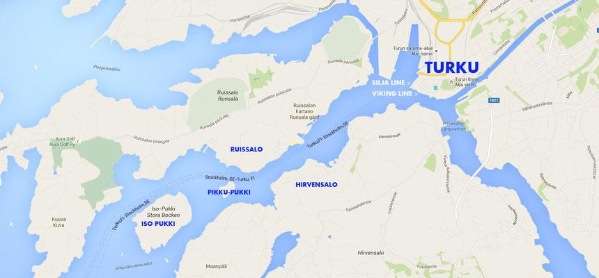 Turku et l'accès à la mer par les Pukki.