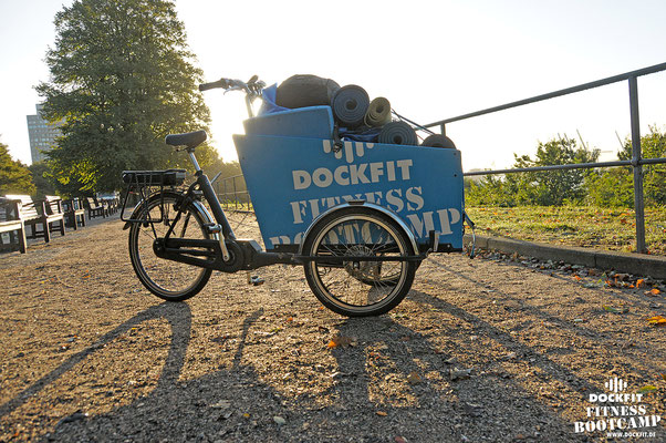 Transport dockfit altona fitness Personal-Trainer bootcamp hamburg training Bakfiets Lastenrad