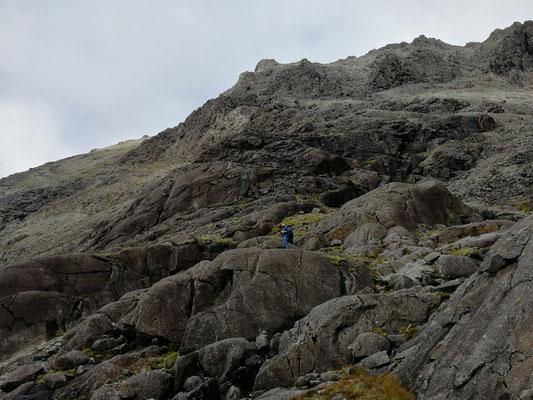 Vom Eiszeitgletscher rund geschliffene Gabbro-Felsen am Lochan Coir Lagan