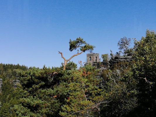Die Kaiser-Wilhelmfeste von der Schluchtnadel aus gesehen, Bielatal