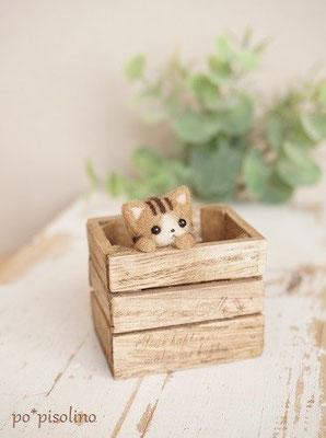 ウッドボックス中 BOX = 4.5×3.7cm  猫を含む高さ = 5.3cm