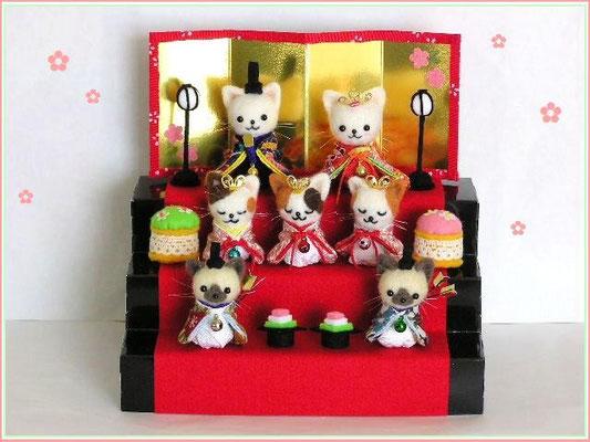 羊毛フェルト 猫雛人形