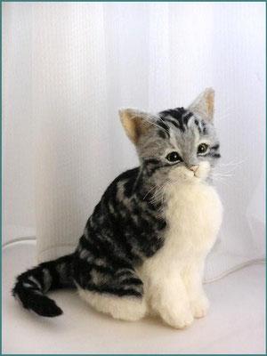 羊毛フェルト猫 さば白