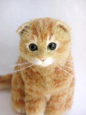 羊毛フェルト猫 スコティッシュフォールド