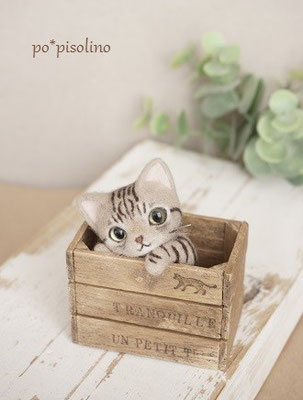 ウッドボックス大 BOX = 6.5×4㎝ 猫を含む高さ = 8㎝