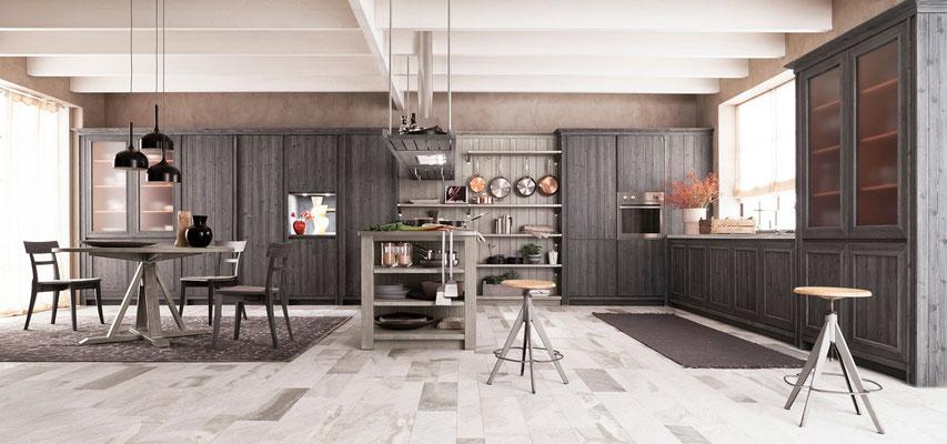 moderne dunkelgraue Massivholzküche mit passendem Essmöbeln