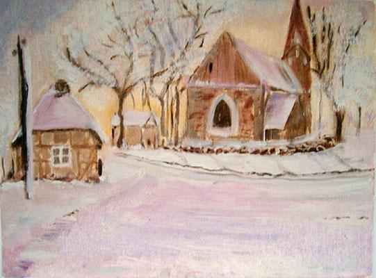1992  Dorf im Schnee 36x27 Öl