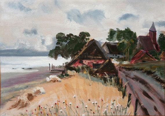 2003  Haus am Strand 25,5x34,5 Öl