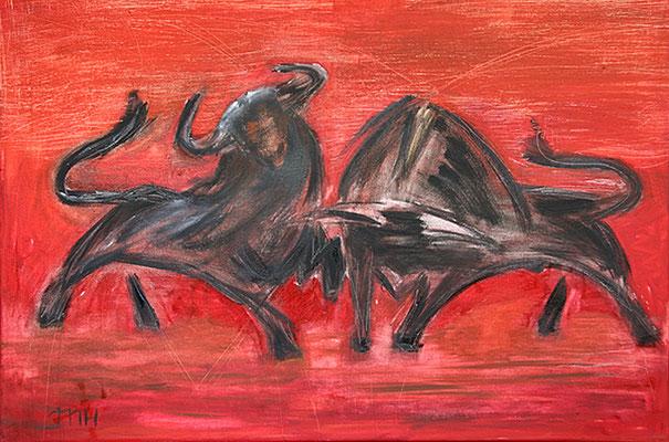 2009  Stiere 40x50 Öl vk