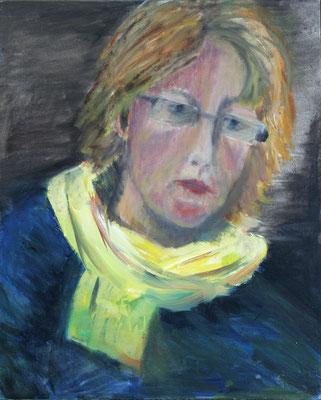 2012  Selbstbildnis mit gelbem Schal 50x40 Öl