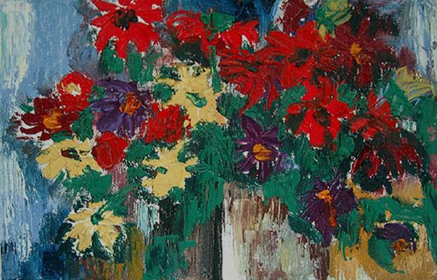 2007  Blumengrüß 25x20,5 Öl